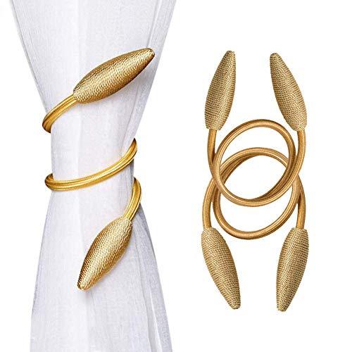 Rose-only 2Pcs Curtain Tiebacks, Gold Curtain Ties Modern Curtain Holdbacks Creative Curtain Tie Backs for Drapes, Home Deocr Draperies