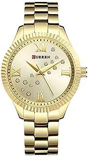 Curren 9009 Quartz Movement Round Dial Stainless Steel Waterproof Women Watch - Gold