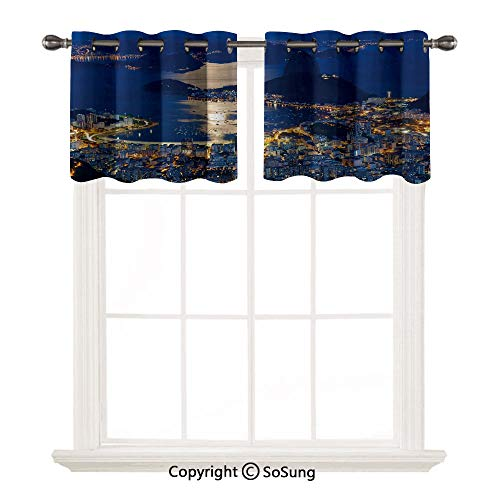 Night 2 pcs 42x18' Short Curtains Blackout Valance,Aerial View of Mountain Sugar Loaf and Botafogo Rio de Janeiro Thermal Insulated Light Reducing Drapes for Half Window,Violet Blue Marigold Light Gre