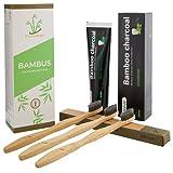 Cepillo de dientes de bambú con cerdas suaves + pasta de dientes de carbón activo Whitening Nano,...