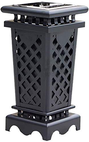 SDGDFGD Garbage Can Outdoor/Indoor Abfalleimer Abfall Mülleimer Mülltonne, Edelstahl Aschenbecher, 15 Gallon Capacity-Schwarz Waste Recycling Bins Abfallbehälter