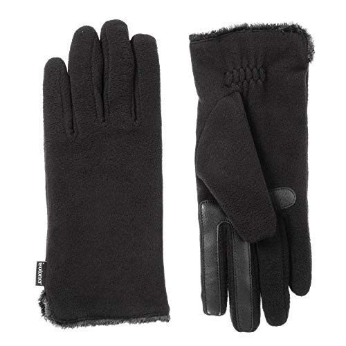 ISOTONER Women's Stretch Fleece Touchscreen Texting Cold Weather Gloves with Warm, Soft Lining, smartDRI Black, One Size