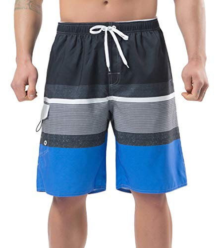 NEOSAN Men's Swim Trunks Beach Board Shorts Dry Quickly Stripe Bathing Suits Blue-Grey 40