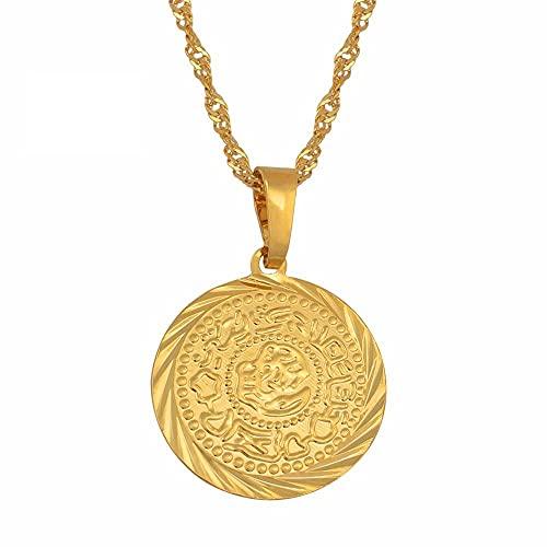 Monedas Charm Collares pendientes Color dorado Árabe Africano Signo de dinero Cadena Joyería Monedas de Oriente Medio Money Maker Regalo # 049606-60cm_Thin_Chain