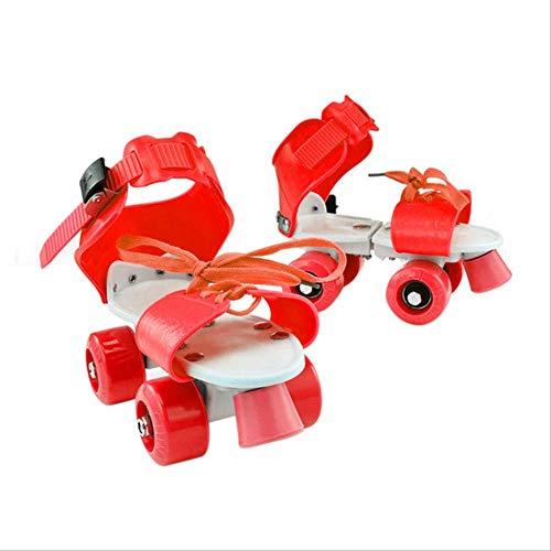 STBB Rollschuhe Mädchen Junge Non Slip Tragen Resistent Tragbare Kinder Feste Doppel Reihe Kinder Outdoor Roller Vier Rad Verstellbar Skate Schuhe Rot