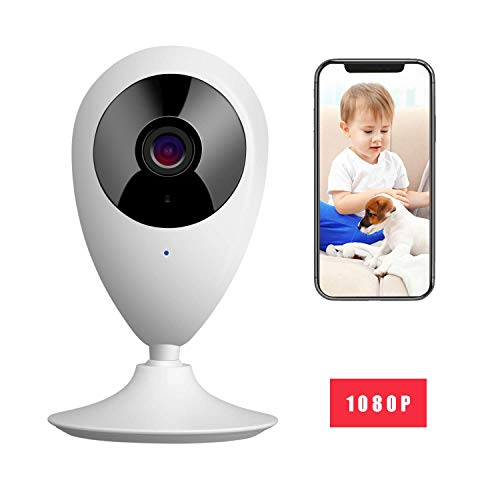 MYPIN 1080P Babyphone Smart Baby Monitor WiFi bewakingscamera met digitale dual audiofunctie, temperatuursensor, slaapliedjes, nachtzicht, intercomfunctie