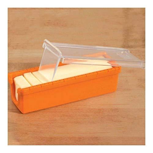 Effort 1pc beurre Keeper et Slicer Cutter Boîte de rangement Container outil de cuisine gâteaux Biscuits Casseroles Beurrier Lave-vaisselle différent (Color : Orange)