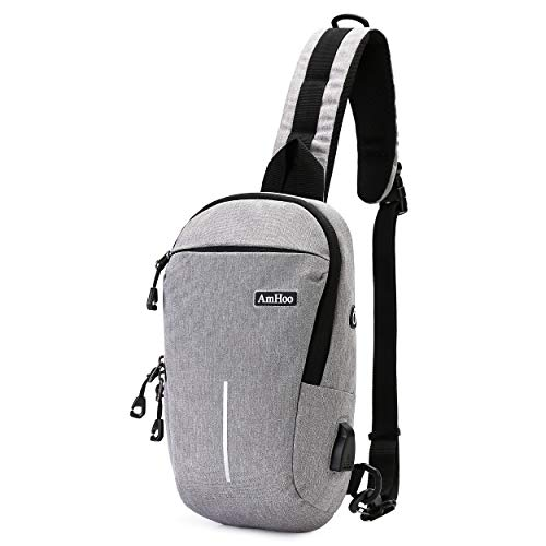 AmHoo Sling Backpack Anti Theft Waterproof Crossbody Bag Fashion Daypack Gray
