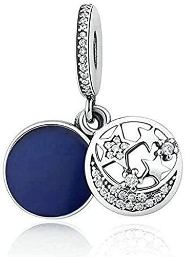 VVHN Pulseras de los Hombres Esmalte Azul Medianoche Cielo Estrellado navideño sin Cristales CZ Adecuado para Pulseras Pandora Originales