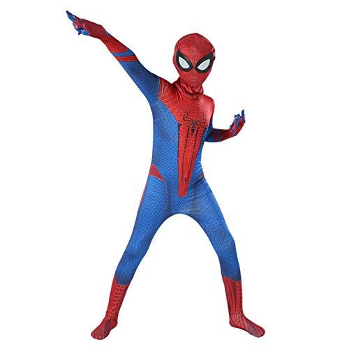 MODRYER Spiderman-Kostüm für Kinder, Peter Parker, Cosplay, Overall, Halloween, Weihnachten, Party, Kostüm, Bodysuit, Superhelden-Einteiler (Kinder/M/120 cm, Amazing Spider)