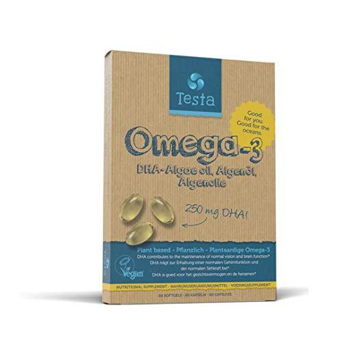 Testa Omega-3 Algenöl - 250mg DHA - Pflanzlichen Omega-3 - Reines und Veganes - viel gesünder als Fischöl - 60 Kapseln (1 Verpackung)