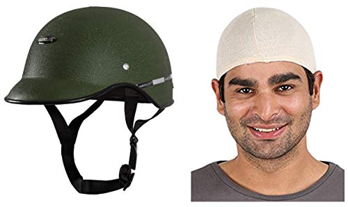 Autofy Habsolite All Purpose Safety Helmet with Strap for Bikes (Green, Free Size) and Autofy Unisex Multipurpose Hair Protector Dust Pollution Skull Cap (Biege) Bundle