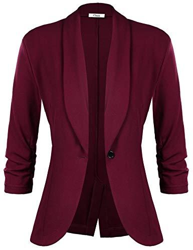 iClosam Blazer voor dames, grote maat, elegant, casual, herfst, slim fit, kantoor - rood - XXL