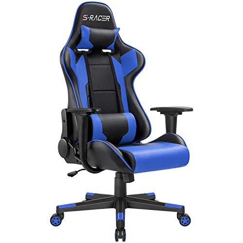 Homall Gaming Stuhl Bürostuhl Zocker Stuhl Ergonomischer Gamer Stuhl PC-Stuhl Racing Computerstuhl Höhenverstellbarer Schreibtischstuhl, Blau
