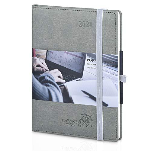 Kalender 2021 Wochenplaner ca. A5 - Terminkalender 1 Woche 2 Seiten - Terminplaner Hardcover Veganem Leder mit Innentasche, Wochenkalender Planer 2021, 16 x 21 cm, Grau