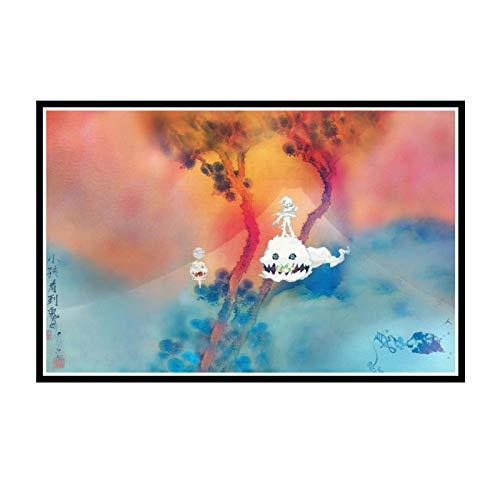 HJZBJZ Kanye West & Kid Cudi Kids See Ghosts Música Álbum Póster Pintura Arte Póster Impresión Lienzo Decoración para el hogar Imagen Impresión de pared-50X75 cm Sin Marco 1 Uds