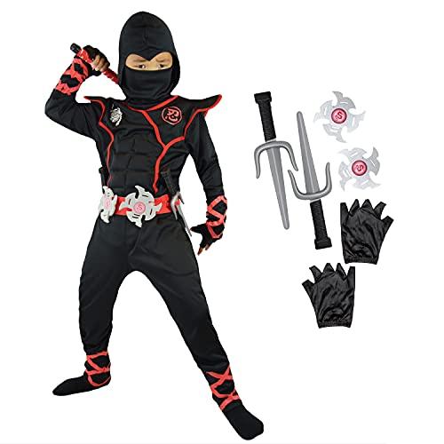 Spooktacular Creations Jungen Ninja Kostüm für Kinder mit Ninja Dolchen und Wurfsternen, Halloween Dress Up Party Karneval