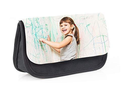 Regalo Original Estuche Escolar de Color Negro Tipo Bolsa Personalizado con tu Foto o Texto para la Vuelta al Cole 13 cm x 21 cm