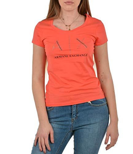 Armani Exchange Rinestone Scoop Neck Logo tee Camiseta, Sangria, XS Kurz para Mujer