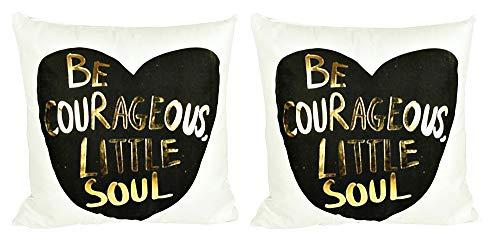 2 fundas de almohada almohada cuadrada - almohada ornamental - 44 x 44 cm - sofá - hogar - cama - muebles - dormitorio - sé valiente alma pequeña - corazón - blanco - estampado en oro y negro