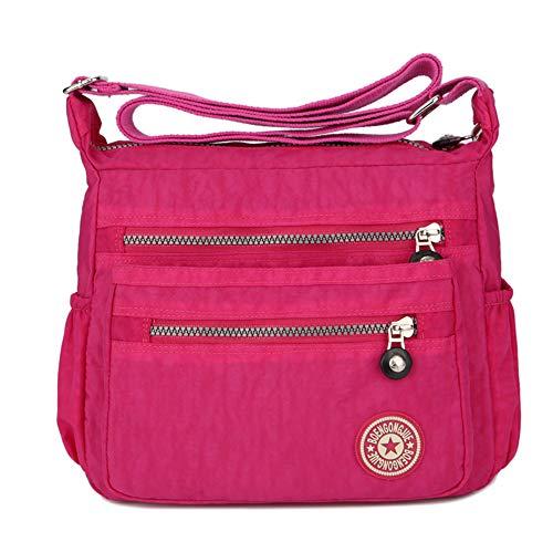 Women's Casual Multi Pocket Nylon Messenger Bags Cross Body Shoulder Bag Travel Purse (Rose)