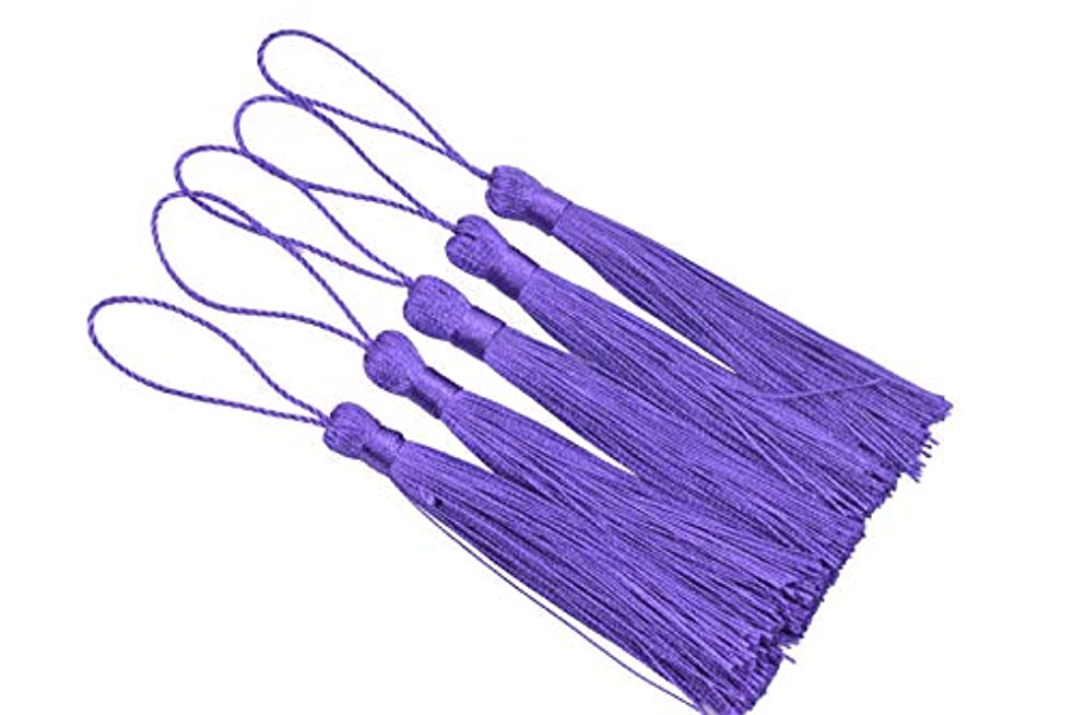 KONMAY 20pcs Silky Handmade Tiny(3.5'') Soft Craft Mini Tassels with Loops for Bookmarks Jewelry Making, Decoration DIY Projects (Purple)