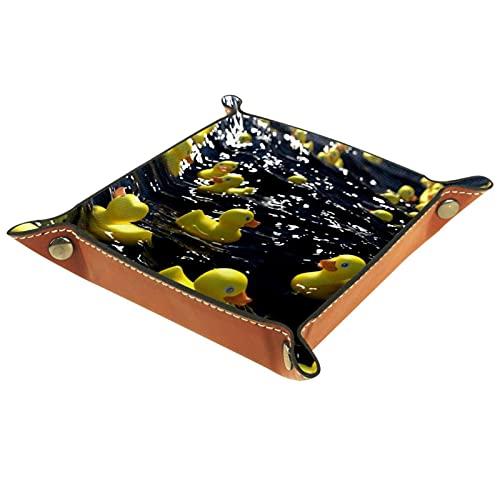Bandeja de dados de metal para juegos de rol, DND y otros juegos de mesa, caja de almacenamiento de soporte de dados, tabla de protección, doble cara plegable Sqaure PU cuero amarillo pato en el agua