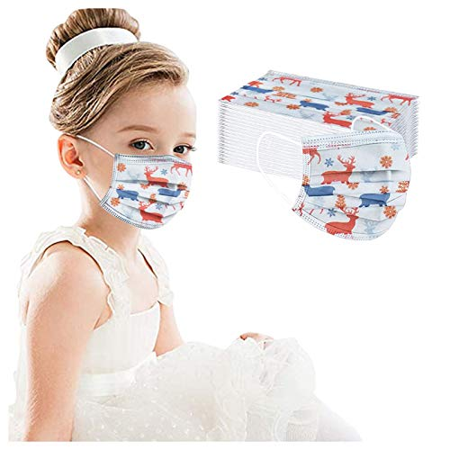LBA Cubrir Adulto Niño Navidad Lavable de Filtro de 3 Capas con Pendientes Elásticos, Dibujos Animados Patrón
