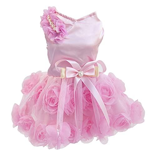 Vestido para Perros Falda de Lujo para Cachorros Ropa para Perros Vestidos de Princesa Vestido de Novia Vestido con Lazo Rosa para Perros Pequeños