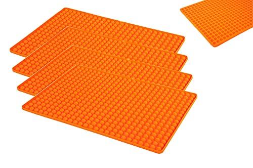 BJYX 4er-Set Silikon Dauerbackmatte mit Noppen Backunterlage Backmatte Untersetzer