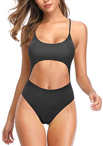 SHEKINI Damen-Badeanzug, Schnürung, Einteiler, Monokini, Badeanzüge - Schwarz - Medium