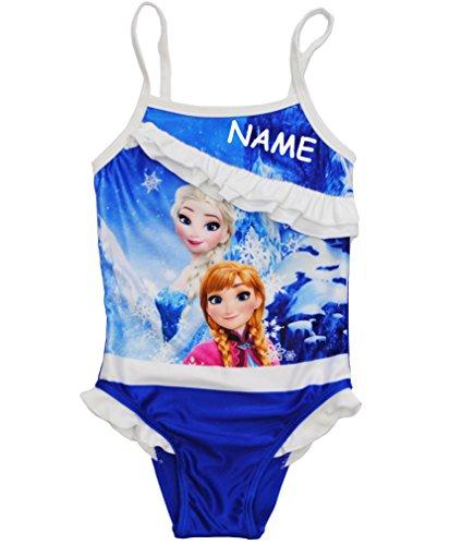 alles-meine.de GmbH Badeanzug mit Rüschen -  Disney die Eiskönigin - Frozen  - incl. Name - Größe 3 bis 4 Jahre - Gr. 104 bis 110 - für Mädchen Kinder - rosa Röckchen / Einteil..