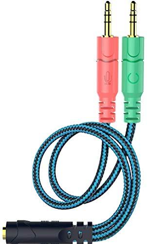 Kit Adaptador de Cable Jack de 3,5 mm, convertidores mutuos para Auriculares de PC con función de Auriculares/micrófono simultáneamente, Divisor en Y, 1 Hembra a 2 machos