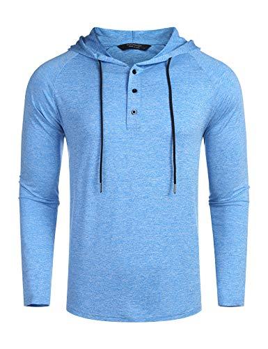 COOFANDY Kapuzenpullover Herren Pullover Dünner Baseball-Sweatshirt Langarm mit Knopf T-Shirt Hemden Tops Hoodie Mit Kapuze Knopfleiste Himmelblau XL