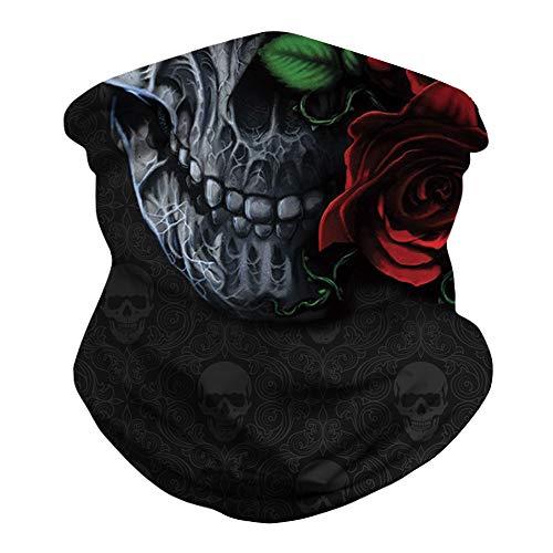 KIDVOVOU Rave Bandana for Men Women Neck Gaiter Head Wrap Scarf Sun Dust Wind Balaclava Headwear,Red Rose Skull Print