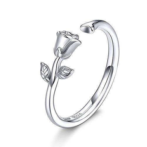 JIARU Anillo de plata de ley 925 para mujer, anillo de moda simple, anillo de rosa y anillo de flor y anillo de San Valentín chapado en platino para niña anillo de dedo abierto regalo