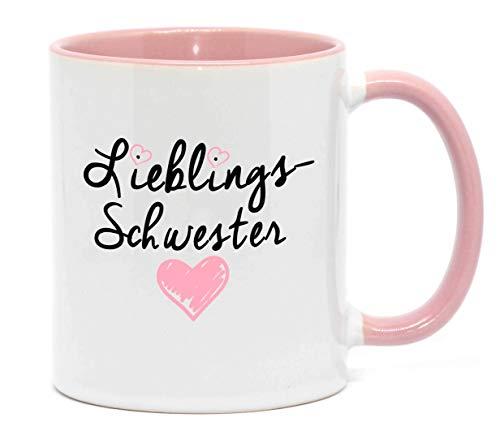 Nice-Presents <> Tasse Lieblings Schwester in hochwertiger Qualität, beidseitig Bedruckt. Eine besondere Art etwas zu Sagen. EIN tolles Geschenk für die Lieblingsschwester z.B. als Dankeschön. (Rosa)