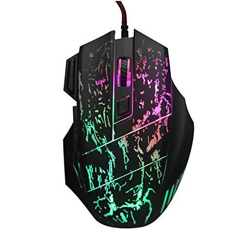 Ordenador cableado RGB ratón del juego, PC portátil USB ergonómico ligero óptico Hasta ratones con 7 colores de retroiluminación LED, 4 DPI Settings hasta 5200 DPI, los botones laterales for Mac Ganar