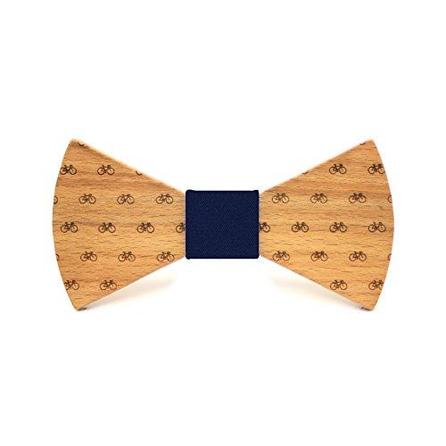 Territorial Pajarita de madera Bike. Colección de moda hombre: Confeccionada en España Wood. Línea boda y eventos. Regalo elegante y original. Nudo a elegir (Azul)