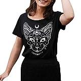TWIFER Damen Männer Kurzarm Moon Katze Gedruckt Punk Gothic Top Bluse T Shirt