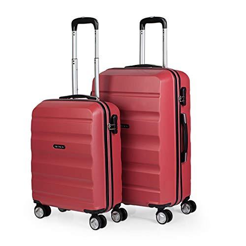 ITACA - Juego de Maletas de Viaje Ligeras 2 Pzs. Set Trolley ABS 4 Ruedas (Cabina + Mediana) Rígidas y Resistentes. Conjunto Equipaje Avión t71615, Color Coral