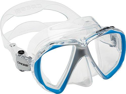 Cressi Liberty Duo Máscara de Snorkeling/Buceo, Adultos Unisex, Transparente/Azul/Plata, Un tamaño