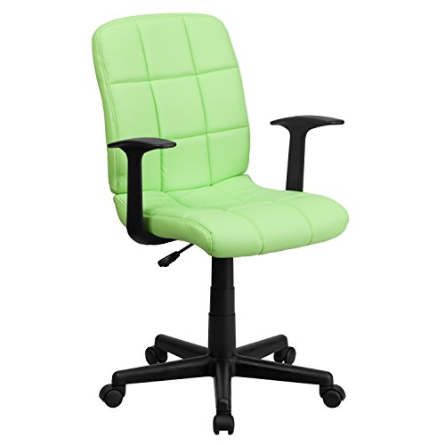 Flash Furniture Mid-Back Green Quilted Vinyl Swivel Task Office Chair with Arms, BIFMA Certified