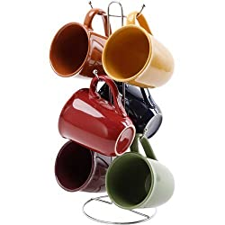 top 10 gibson coffee cups Gibson Contemporary Color Set 7 15 oz cups and 6 different colors, 1 stand