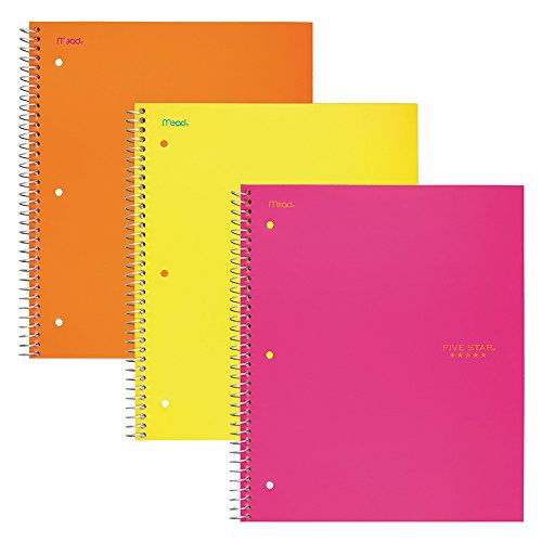 """Five Star Spiral Notebooks, 3 Subject, Wide Ruled Paper, 150 Sheets, 10-1/2"""" x 8"""", Orange, Pink, Yellow, 3 Pack (38430)"""
