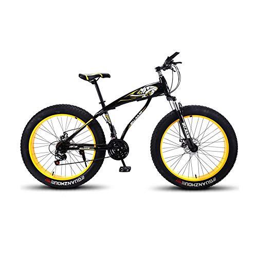 GYZLZZB Colored Rim Cross-Country Beach Snowmobile 26' Mountain Bikes,7 Speed Bicycle,Adult Fat Tire Mountain Trail Bike,Aluminium Alloy Frame Dual Full Suspension Dual Disc Brake(Black and Yellow)