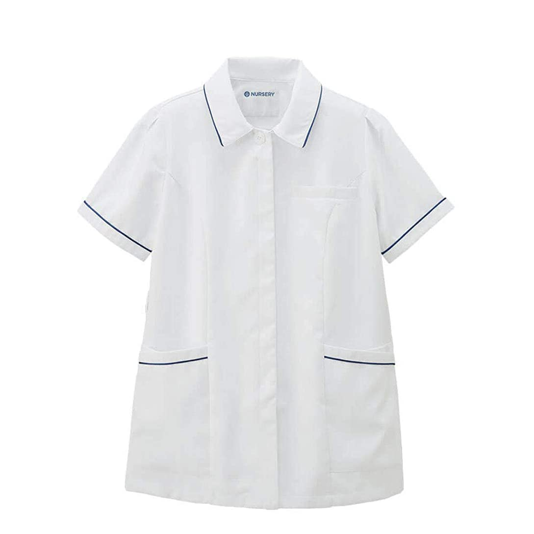 居心地の良い著者同一のナースリー サラフィットゆったり配色ジャケット 【大きいサイズ】 ストレッチ 透け防止 白衣 看護 3L ホワイト×ネイビー 9444504