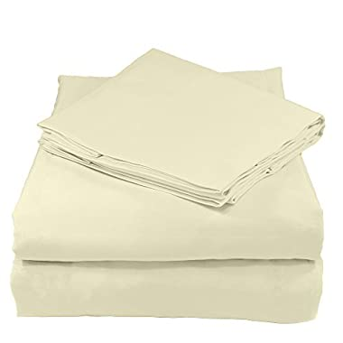 Whisper Organics 100% Organic Cotton Sheet Set, 400 Thread Count - GOTS Certified (Queen, Natural)