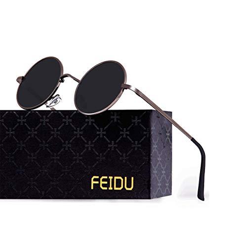 FEIDU Retro Vintage Runde sonnenbrille herren - Polarisiert mit rundem Metallrahmen,sonnenbrille damen FD 3013 (Schwarz-Pistole, 1.81)