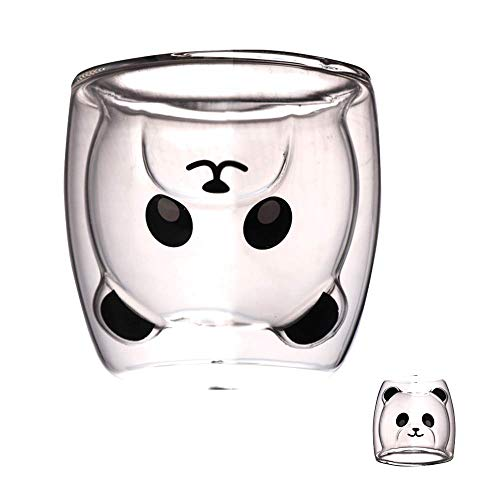 LTHTX Kreative süße Bär Doppellagige Kaffeetasse Doppelglas Tasse Karton Tier Milchglas Lady (Panda)